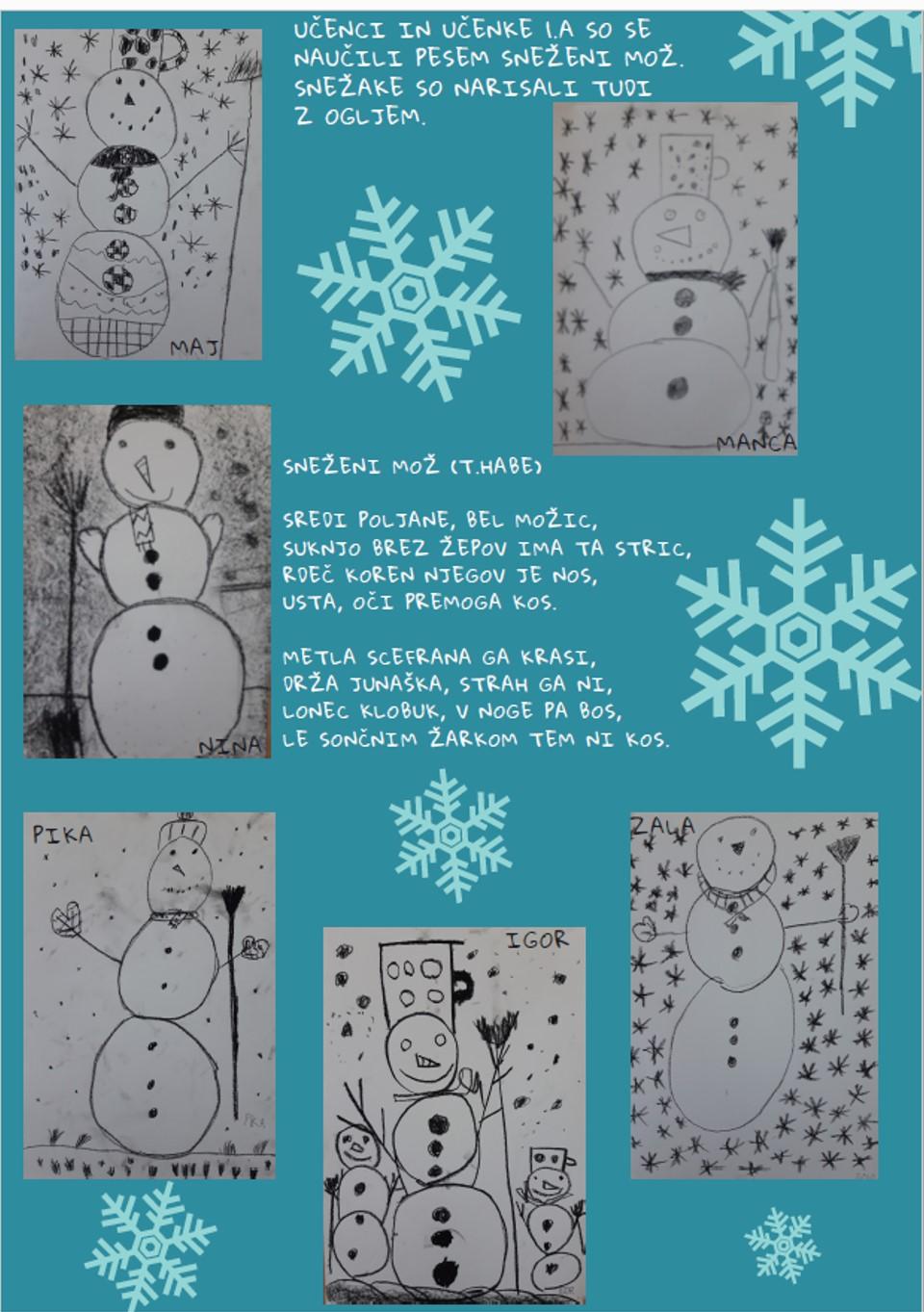 Snežaki učencev 1. a
